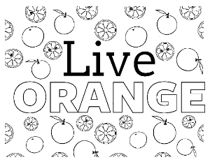 Live Orange Coloring Page