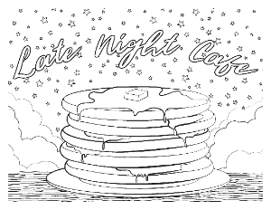 Late Night Cafe Coloring Page 2