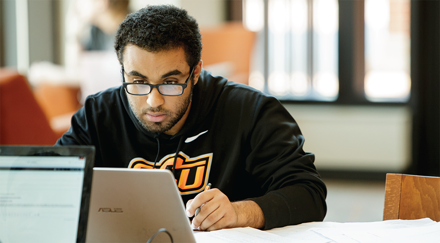 Student studying in the Student Union